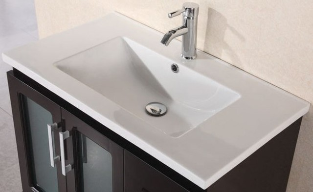 Design Element 32 In Porcelain Countertop With Integrated Drop In Sink Modern Bathroom
