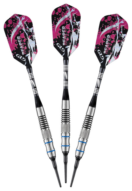 Grim Reaper Tungsten Soft Tip Darts, Blue Rings, 18 Grams contemporary-darts-and-dartboards