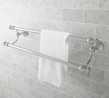 Mercer Double Towel Bar 24 Quot Chrome Finish Traditional