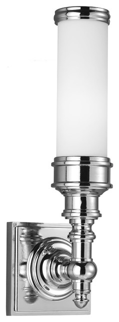 Transitional Bathroom Wall Sconces : Feiss VS49001-PN Payne Ornate 1 Light Polished Nickel Bathroom Wall Sconce - Transitional ...