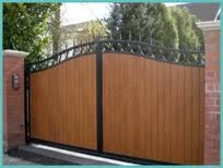 Wood Amp Wrought Iron Driveway Gate Modern Raleigh By