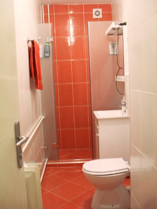 Need help for my small red bathroom for Help design my bathroom