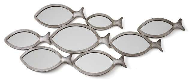 Banc d co murale banc de poissons en m tal contemporain for Miroir forme originale