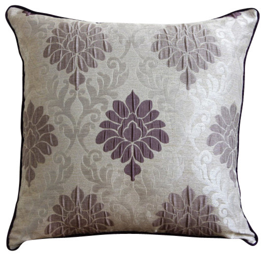 Lavender Damask Throw Pillow Cover, 14x14 - Traditional - Decorative Pillows - by The HomeCentric