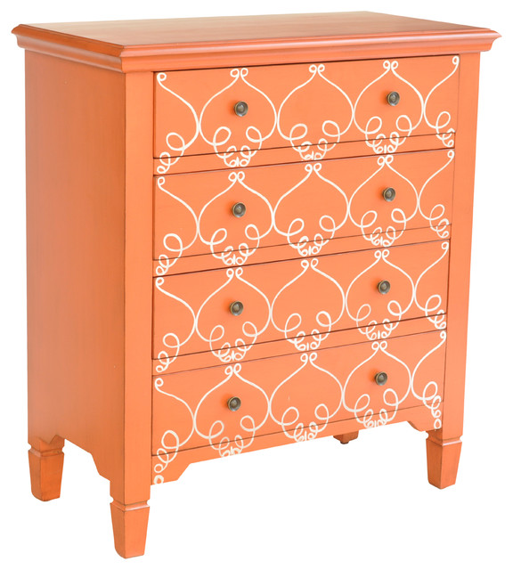 """Vivid 3 Drawer Orange Chest, 30""""X15""""X33.5"""" - Accent Chests And Cabinets - by Crestview Collection"""