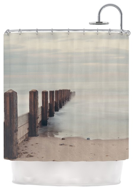 Laura Evans Brush Strokes Brown Gray Shower Curtain Contemporary Shower Curtains By Kess