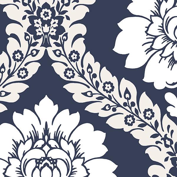 Modern Floral Damask, Navy Blue & White, 1 Bolt