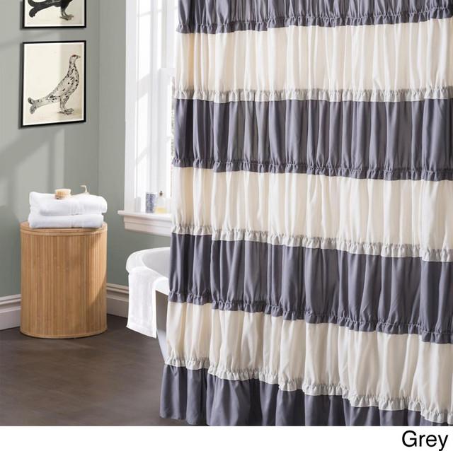 Lush Decor Isla Ruffled Flounced Shower Curtain