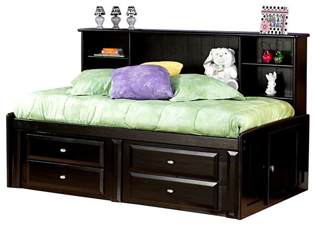 Chelsea Home Twin Bed with Bookcase and Storage in Black Cherry - Traditional - Kids Beds - by ...