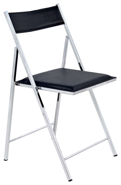 ... Folding Chair With TechniFlex Seat, Black contemporary-folding-chairs