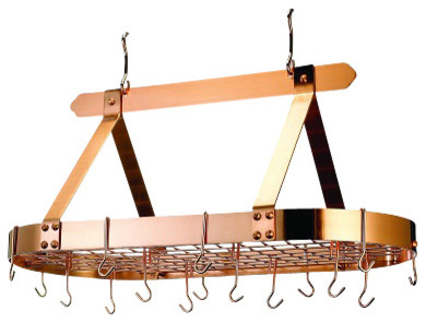 Oval Satin Copper Pot Rack With Grid And 16 Hooks Traditional Pot Racks A