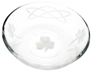Hand Cut Glass Shamrock Bowl Celtic Pattern Traditional