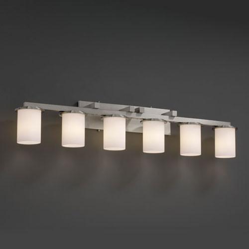 Fusion Dakota Six Light Brushed Nickel Bath Fixture Contemporary Bathroom Vanity Lighting