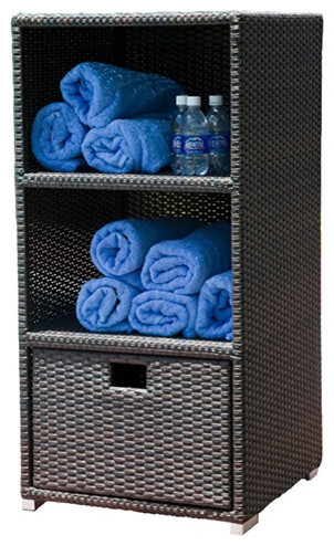 Modern Home Spa Resort Woven Wicker Towel Valet - Modern - Bathroom Cabinets And Shelves - by ...