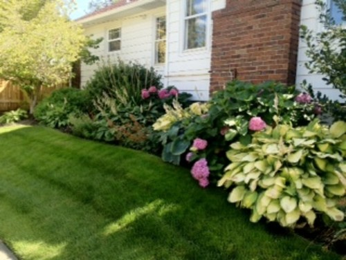 Landscaping Along Sides of Two-story House