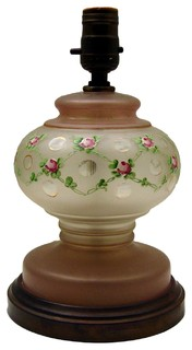 Consigned Vintage Frosted & Enamel Pink Rose Lamp - Traditional ...