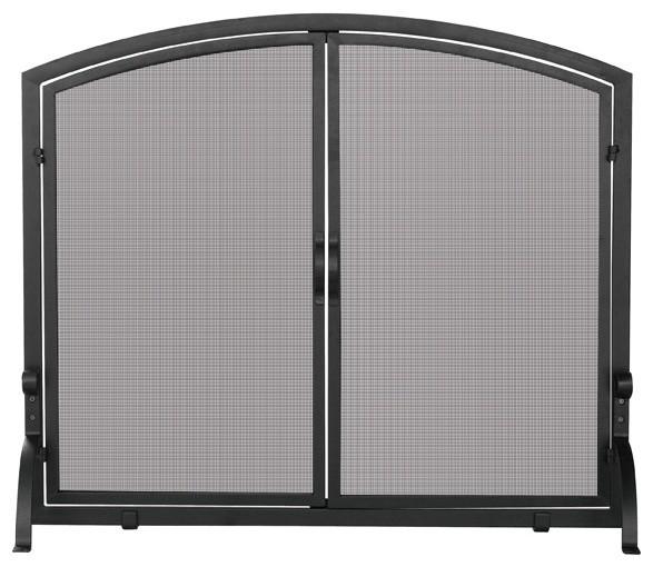 single panel black iron fireplace screen with