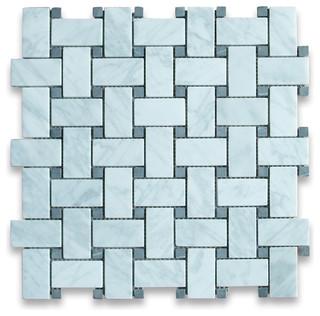 Carrara White Marble Basketweave Mosaic Tile Black Dots ...