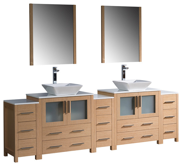 96 light oak double sink bathroom vanity 3 side cabinets and vessel