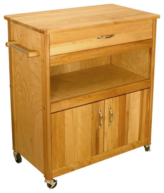 catskill wide cuisine cart butcher block top open catskill microwave cart open shelf closed cabinet