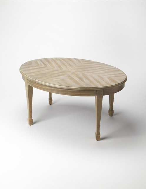 Butler Plantation Cherry Clayton Cocktail Table In Driftwood Oval Contemporary Coffee Tables