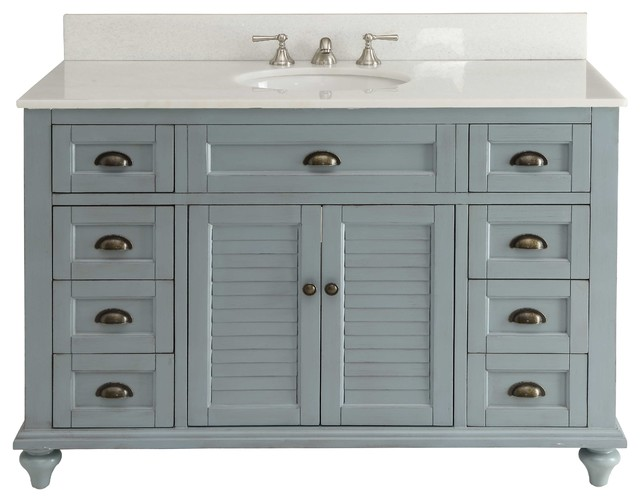 Vanity Cabinet Set, Light Blue, 49quot; farmhousebathroomvanitiesand