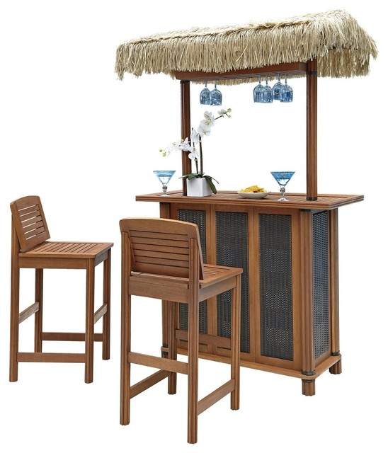 bali hai tiki bar and two stools transitional outdoor