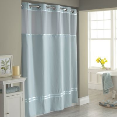 Hookless Escape 71 Inch X 74 Inch Fabric Shower Curtain And Liner Set In Blue Contemporary