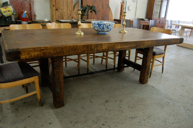 Rustic Farm Table With Turnbuckle Contemporary Dining