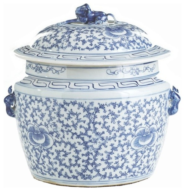 Lidded Floral Rice Jar Blue And White Asian Decorative Jars And Urns By Belle