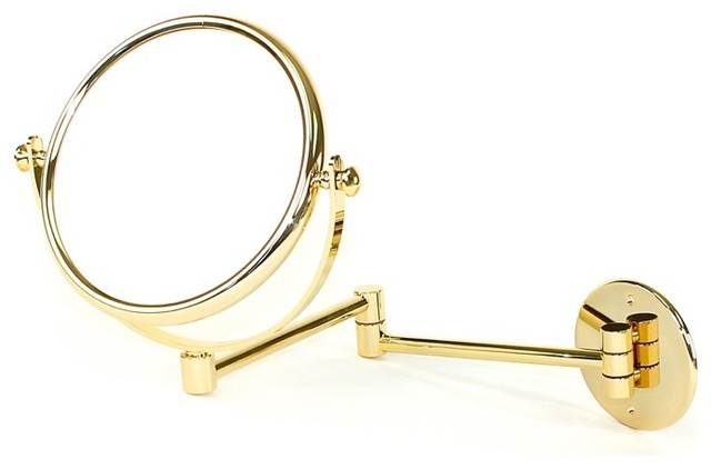 Wall mounted extendable double face gold 5x magnifying for Wall mounted extendable mirror bathroom