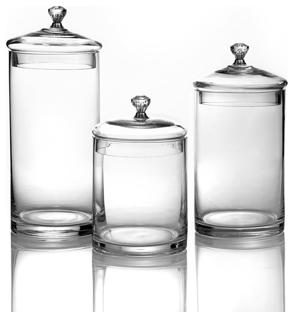 glass canisters with silver knobs small set of 3