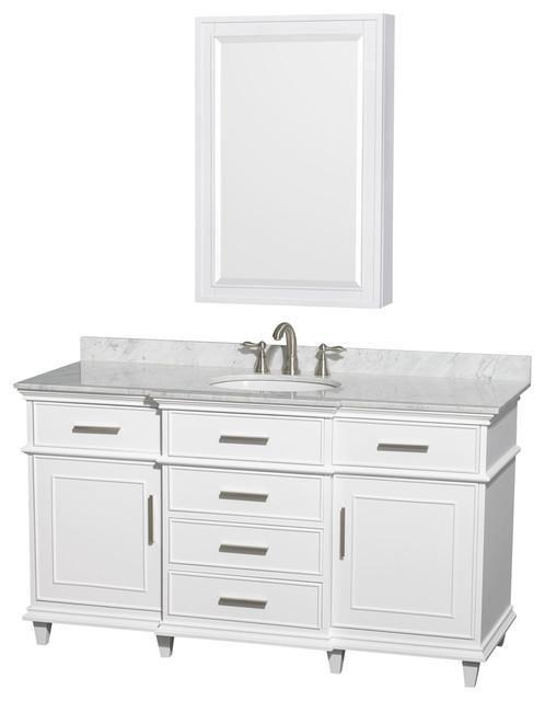Berkeley 60 Single Vanity Carrera Marble Top Round Sink 24 Med