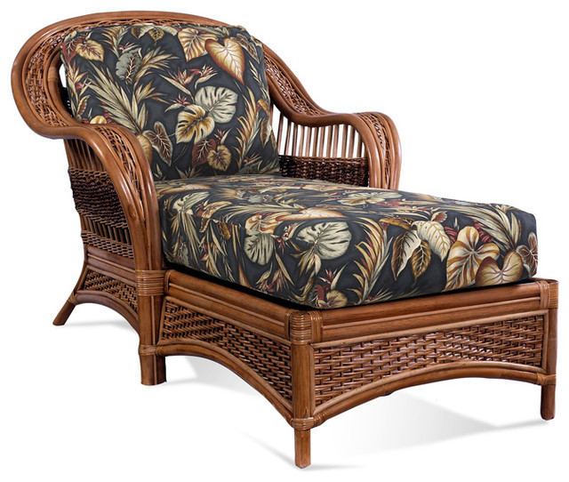 Rattan chaise lounge tigre bay tropical indoor for Black wicker chaise lounge