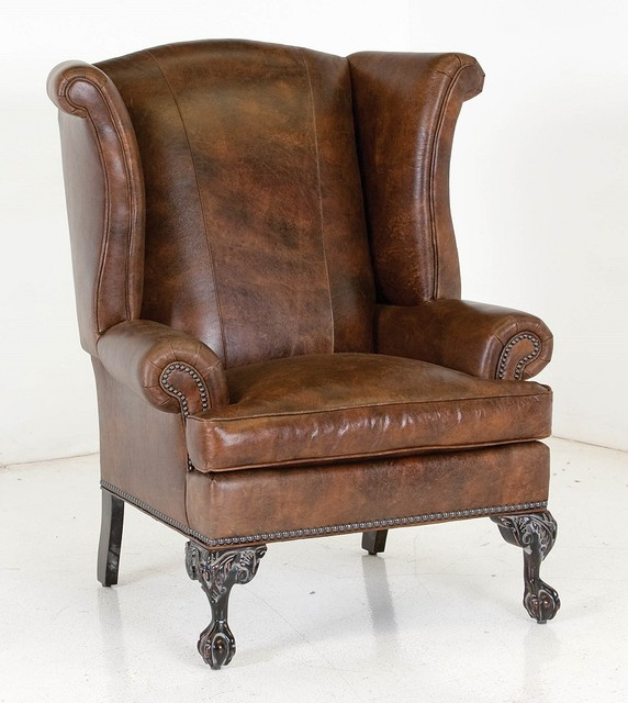 Leather wing back chairs traditional new york by for Furniture wellington