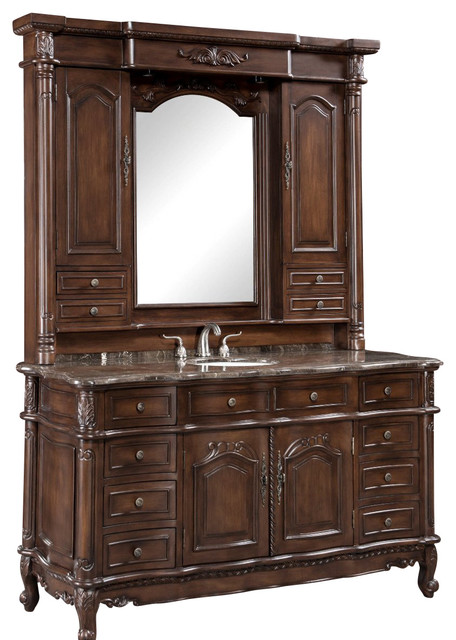 64 Inch Single Bath Vanity With Hutch 2 Piece Traditional Bathroom Vanities And Sink