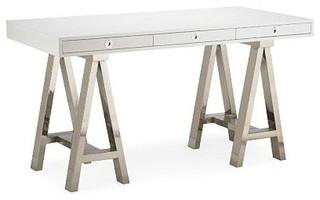 ... Williams-Sonoma Home Mason White Wood/Glass Desk - $1,850 Est. Retail