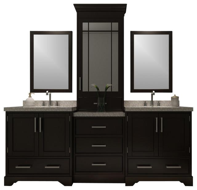 "Stafford 85"" Double Sink Vanity Set, Espresso, Center Medicine Cabinet - Transitional - Bathroom ..."