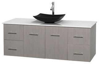 Centra 60 grey oak sgl vanity white stone top arista - Muebles de lavabo ...