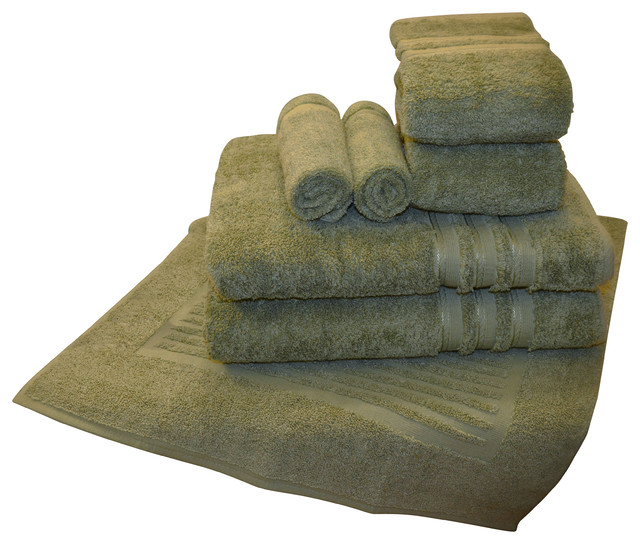 7 pcs luxurious 100 egyptian cotton bath towel sets sage green contemporary bath towels. Black Bedroom Furniture Sets. Home Design Ideas