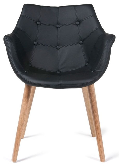 Chaise lounge capitonn e fa on cuir eleven couleur noir for Chaise accoudoir salle a manger