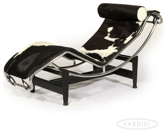 Kardiel le corbusier style lc4 chaise black and white for Chaise lounge cowhide