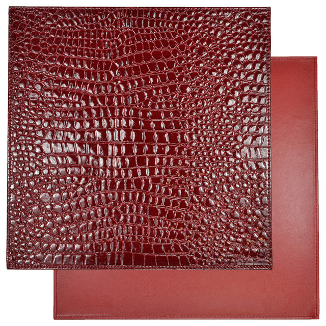 Reversible Faux Leather Crocodile Wine Red Placemat Set
