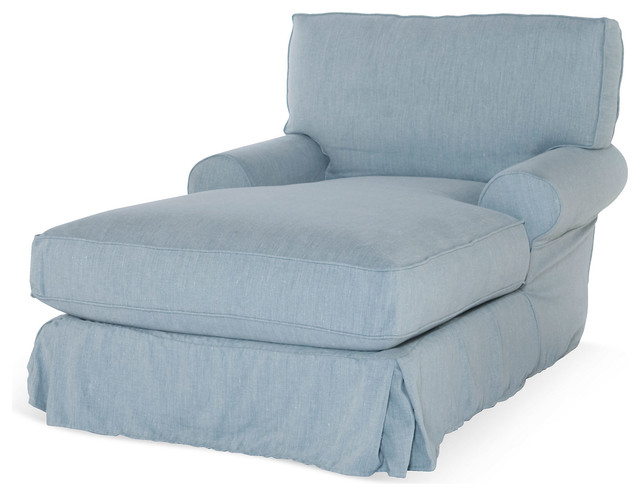 Comfy slipcovered chaise blue contemporary indoor for Blue chaise lounge indoor