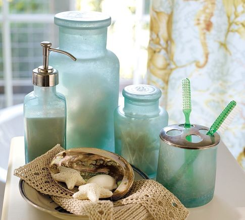 Blue Beach Glass Bath Accessories Tropical Bathroom