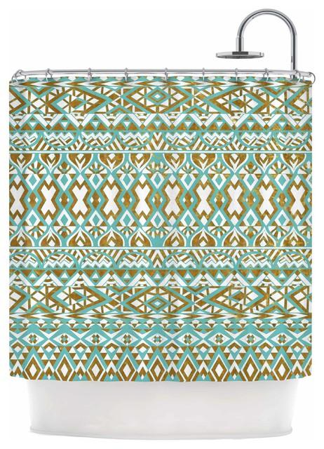 Pom Graphic Design Mint Gold Tribals Teal Brown Shower Curt