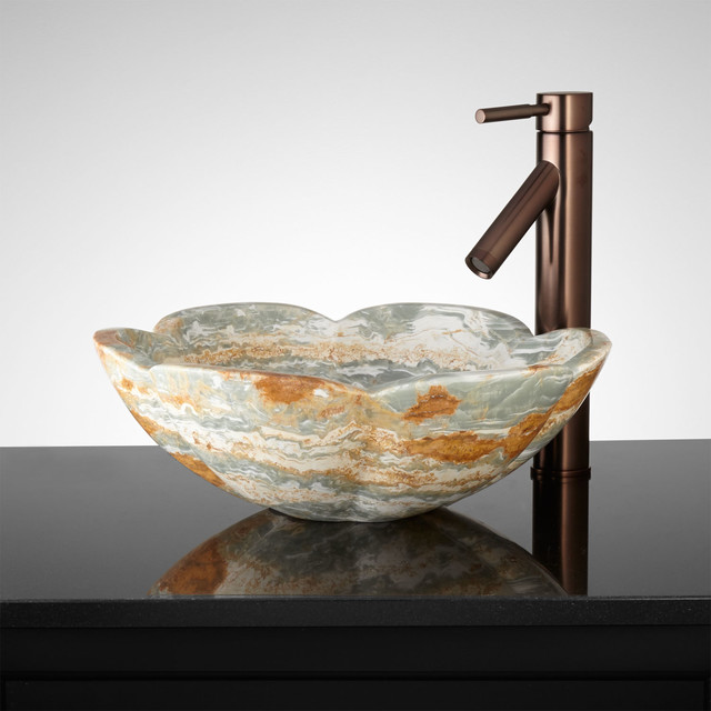 Flower Vessel Sink : Barrick Blue Onyx Flower Vessel Sink - Traditional - Bathroom Sinks ...