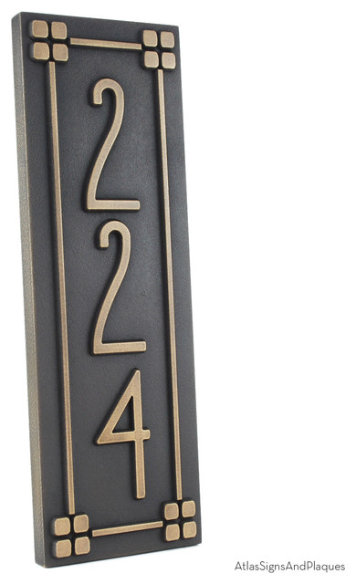vertical american craftsman home numbers with lines 6 x. Black Bedroom Furniture Sets. Home Design Ideas