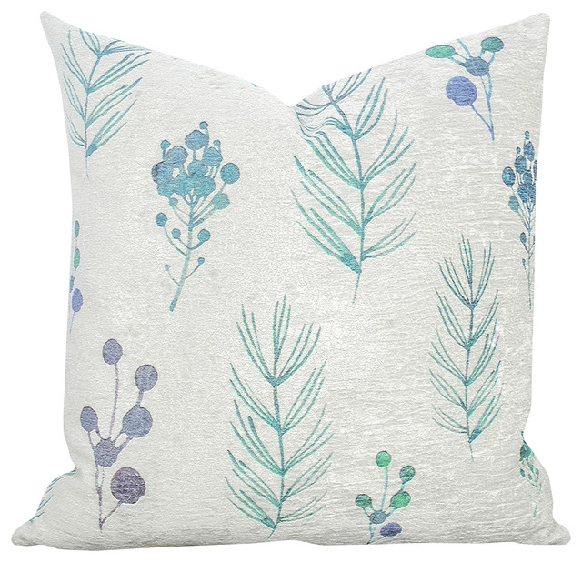 Floral Textured Throw Pillow, Blue - Modern - Decorative Pillows - by TheWatsonShop