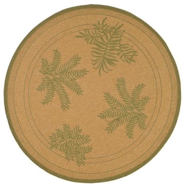 Indoor outdoor courtyard round 6 39 7 round natural green for Area rugs round contemporary